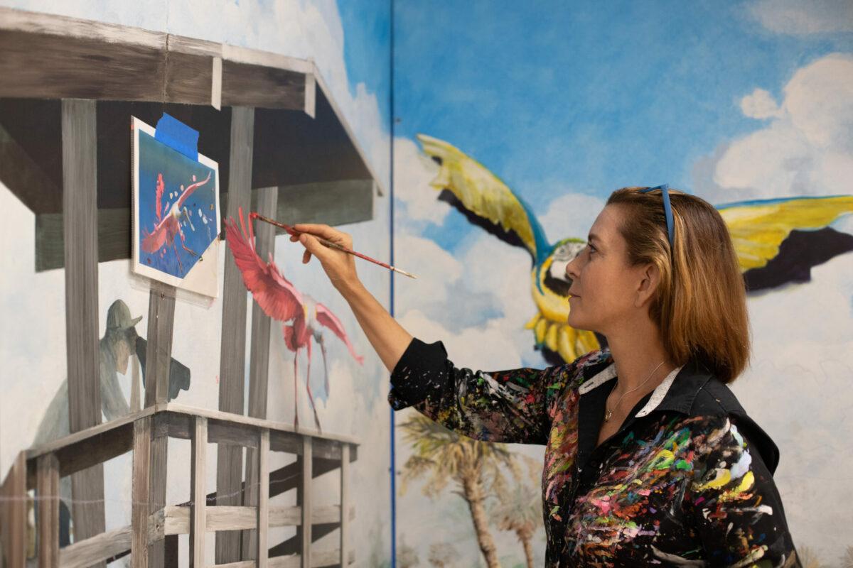 Artist Artist Dana Donaty painting Delray Camera Shop Mural